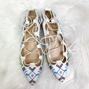 Anthropologie Billy Ella lace up flats embroidered